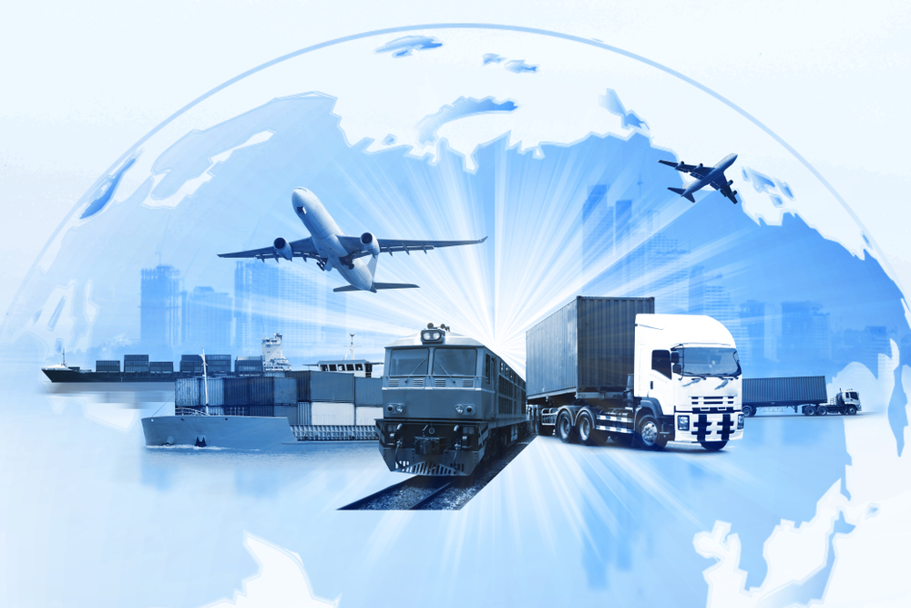 globe with city-scape in the background and cargo ships, planes, trains & trucks in the foreground emphasizing 3pl eCommerce fulfillment