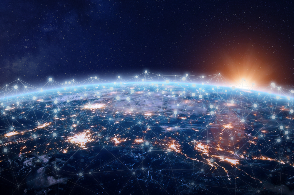view of the world from outer space highlighting global logistics