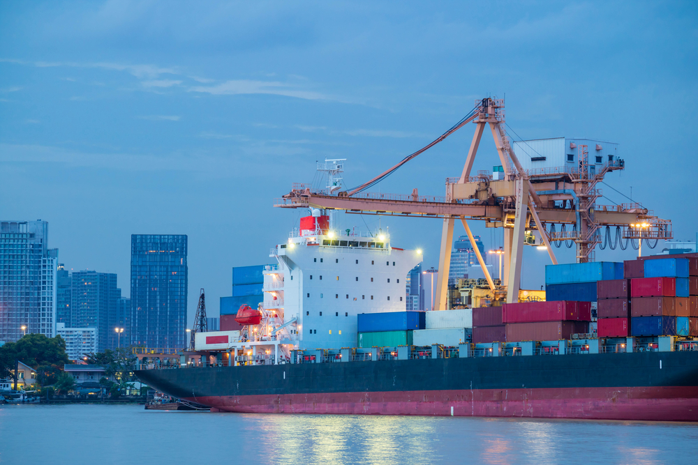 ocean carrier docked & loaded with cargo for overseas