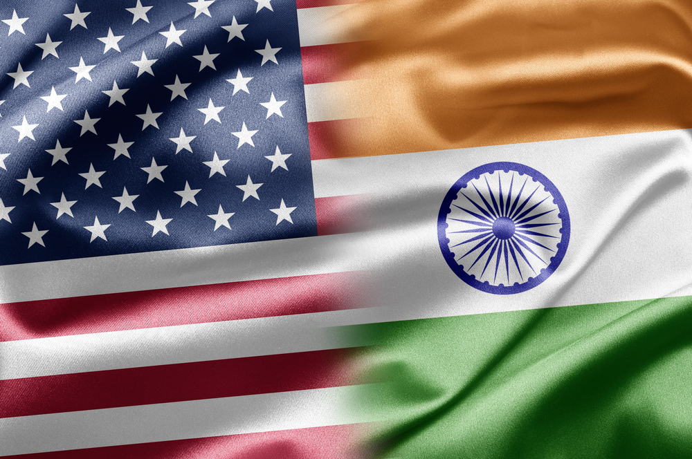 USA flag merging with India's flag showing the ease of international freight services